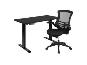 """Flash Furniture 48""""W x 24""""D Electric Height Adjustable Stand Up Computer Desk with Black Mesh Swivel Ergonomic Task Office Chair"""