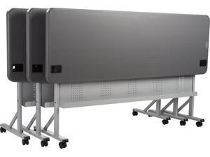 "NPS 24"" x 72"" Flip - N - Store Polyethylene Flipper Table for Training, Conference room or Seminar - Charcoal Slate"