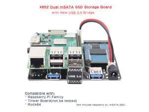 Raspberry Pi 3 Model B+ (B  Plus)/3B X852 Dual mSATA SSD Storage Expansion Board X852 USB 3.0 Module Adapter for Raspberry Pi 3 Model B+(plus)/3B/2B/B+/ROCK64