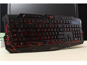 c97b0cd5928 XinXinShun M-200 Three Adjustable Color Backlit Keyboard with Cool Crack  Pattern - Black for