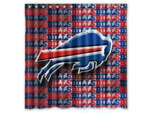 Buffalo Bills Design Polyester Fabric Bath Shower Curtain 180x180 cm Waterproof and Mildewproof Shower Curtains