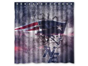 New England Patriots NFL 07 Design Polyester Fabric Bath Shower Curtain 180x180 cm Waterproof and Mildewproof Shower Curtains