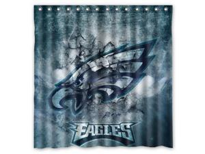 Philadelphia Eagles 02 NFL Design Polyester Fabric Bath Shower Curtain 180x180 cm Waterproof and Mildewproof Shower Curtains Pattern01