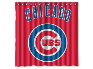 Chicago Cubs 03 MLB Design Polyester Fabric Bath Shower Curtain 180x180 cm Waterproof and Mildewproof Shower Curtains