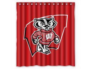 Wisconsin Badgers Design 66x72 Inch Bath Shower Curtains