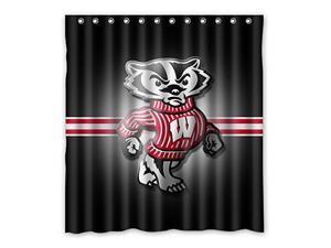 NCAA Wisconsin Badgers Design 66x72 Inch Bath Shower Curtains