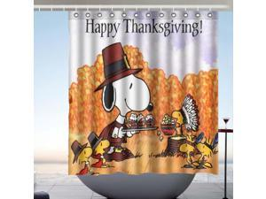 Thanksgiving Snoopy Fans Bath Shower Curtain 66x72 Inch