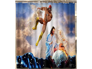 Macho Man Randy Savage Jesus.png Design Polyester Fabric Bath Shower Curtain 180x180 CM