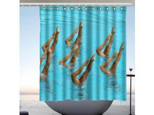 Synchronized Swimming Fans Bath Shower Curtain 66x72 Inch