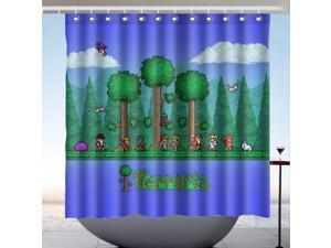 Terraria Game Design Polyester Fabric Bath Shower Curtain 180x180 CM