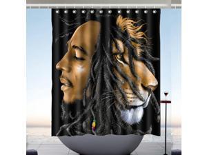 Bob Marley Design Polyester Fabric Bath Shower Curtain 60x72 Inch
