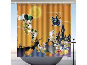 Disney Halloween Design Polyester Fabric Bath Shower Curtain 180x180 CM