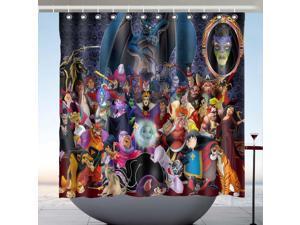 Disney Villains Design Polyester Fabric Bath Shower Curtain 180x180 CM
