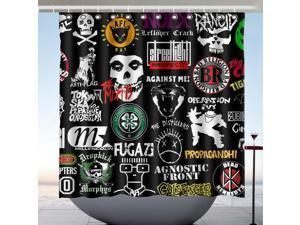 Rancid The Misfits Fugazi Manifesto Design Polyester Fabric Bath Shower Curtain