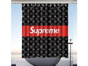 Supreme Logo Design Polyester Fabric Bath Shower Curtain 60x72 Inch