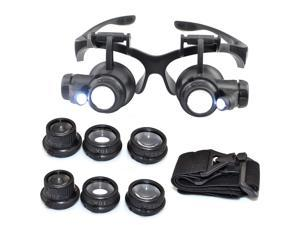 iKKEGOL 10X 15X 20X 25X LED Double Eye Jeweler Watch Repair Magnifying Glasses Loupe Magnifier 9892G