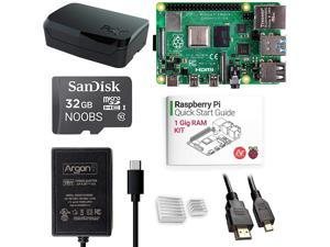 Argon x Raspberry Pi 4 (1 Gig) Kit | Barebones with Raspberry Pi 4 Case | Pre-Installed Noobs | Includes Micro HDMI to HDMI Cable, Type-C Power Supply, Quick Start Guide for Raspberry Pi 4