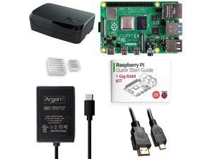 Argon x Raspberry Pi 4 Kit (1 Gig) | Argon Poly+ Raspberry Pi 4 Case | Includes Micro HDMI to HDMI Cable, Type-C Power Supply, and Quick Start Guide for Raspberry Pi 4