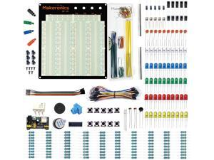 Makeronics Electronics Fun Kit with 3220 Solderless Breadboard  Power Supply Module  Precision Potentiometer  140 pcs U-Shape Jumpers 65 pcs Wires and more for Prototyping Circuit/Arduino/Raspberry Pi