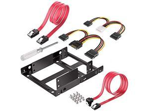 JUNHOM 2X 2.5 to 3.5 Inch Internal SSD Hard Disk Drive Mounting Kit Bracket(with SATA Data Cables and Power Cables)