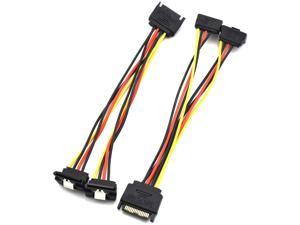 SDTC Tech 15 Pin SATA Power Splitter Adapter Cable Male to Dual Female 90-Degree Angle with Locking Latch Power Extension Cable (Copper/20cm) - 2 Pack