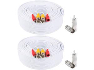 Postta BNC Video Power Cable (2 Pack 200 Feet) Pre-Made All-in-One Video Security Camera Cable Wire with Four Connectors for CCTV DVR Surveillance System