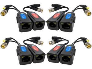 FocusHD 4 Pair Passive Video Balun 1080P-5MP BNC to RJ45 Adapter with Power Upgraded with Ground Loop Isolated Security Camera Network Transceiver Cat5e/Cat6 Cable to BNC Connectors -8Pack