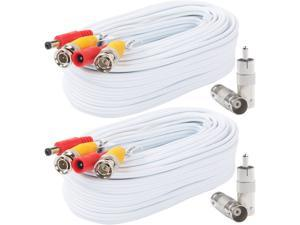 Postta BNC Video Power Cable (2 Pack 25 Feet) Pre-Made All-in-One Video Security Camera Cable Wire with Four Connectors for CCTV DVR Surveillance System