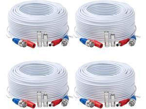 Tainston 4 Pack 200 Feet BNC Video Power CableBNC Extension Wire Pre-Made All-in-One Video Security Camera Wire with Connectors for CCTV Camera DVR Surveillance System