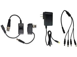 Night Owl Security 1-Pair Passive Video Balun Converters with Power for Security CCTV Systems - A-VB-POE-BNC,Black & Owl Security SPF-CAMP-2A Camera Adapter with 4-Way Power Splitter, Black