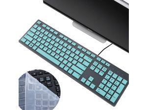 2Pcs i-Tensodo Keyboard Cover for Dell KM636 and KB216 Wireless Keyboard, Dell Optiplex 5250/3050/3240/5460/7450/7050, Dell Inspiron AIO 3475/3670/3477 All-in-one Desktop, Candy Blue+Clear