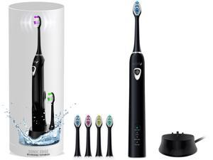 Sonic Electric Toothbrush, Rechargeable Toothbrush w/ 3 brushing modes, 2min. auto-timer, 30sec. quad-reminder and long-lasting, extended charge battery (White)