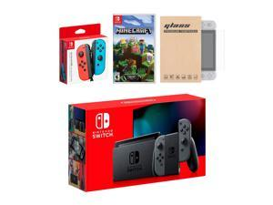 Nintendo Switch Gray Joy-Con Console Bundle with an Extra Pair of Neon Red/Blue Joy-Con, Minecraft, and Tempered Glass Screen Protector