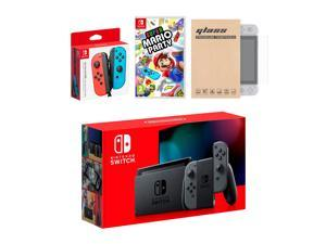 Nintendo Switch Gray Joy-Con Console Bundle with an Extra Pair of Neon Red/Blue Joy-Con, Super Mario Party, and Tempered Glass Screen Protector