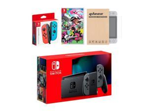 Nintendo Switch Gray Joy-Con Console Bundle with an Extra Pair of Neon Red/Blue Joy-Con, Splatoon 2, and Tempered Glass Screen Protector