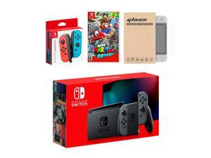 Nintendo Switch Gray Joy-Con Console Bundle with an Extra Pair of Neon Red/Blue Joy-Con, Super Mario Odyssey, and Tempered Glass Screen Protector