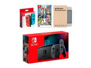 Nintendo Switch Gray Joy-Con Console Bundle with an Extra Pair of Neon Red/Blue Joy-Con, Super Smash Bros. Ultimate, and Tempered Glass Screen Protector