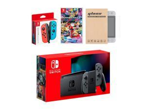 Nintendo Switch Gray Joy-Con Console Bundle with an Extra Pair of Neon Red/Blue Joy-Con, Mario Kart 8 Deluxe, and Tempered Glass Screen Protector
