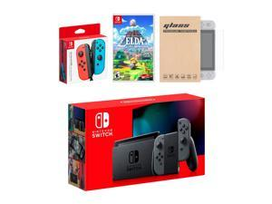 Nintendo Switch Gray Joy-Con Console Bundle with an Extra Pair of Neon Red/Blue Joy-Con, Legend of Zelda Link's Awakening, and Tempered Glass Screen Protector