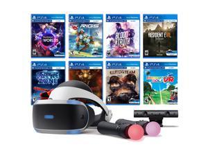PlayStation VR 11-In-1 Deluxe 8 Games Bundle: VR Headset, Camera, Move Motion Controllers, VR Worlds, Resident Evil 7, Bravo Team, Battlezone, RIGS, Until Dawn, Blood & Truth, Everybody's Golf