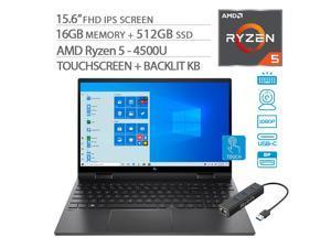 "HP Envy x360 2-in-1 Touchscreen Laptop, 15.6"" IPS FHD, Ryzen 5-4500U 6-Core up to 4.00 GHz, 16GB RAM, 512GB SSD, USB-C/DP, HDMI 2.0, Backlit KB,  WebCam, Mytrix Ethernet Hub, Win 10"