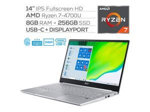 "Acer Swift 3 Narrow Bezel Laptop, 14"" IPS Full HD, AMD Ryzen 7 4700U 8-Core up to 4.10 GHz (beats i7-1065G7), 8GB RAM, 256GBSSD, USB-C/DP Support, Wi-Fi 6, FP Reader, Backlit, Webcam, HDMI, Win 10"