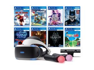 PlayStation VR 11-In-1 Deluxe 8 Games Bundle: VR Headset, Camera, Move Motion Controllers, Iron Man, Skyrim, Batman, Battlezone, RIGS, Until Dawn, Blood & Truth, Everybody's Golf