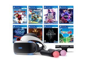 PlayStation VR 11-In-1 Deluxe 8 Games Bundle: VR Headset, Camera, Move Motion Controllers, Iron Man, Skyrim, VR Worlds, Battlezone, RIGS, Until Dawn, Blood & Truth, Everybody's Golf
