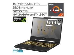 "ASUS TUF Gaming A15 144Hz Gaming Laptop, 15.6"" IPS FHD, AMD Ryzen 7 4800H 8-Core up to 4.20 GHz, GTX 1660 Ti, 32GB RAM, 512GB SSD, 90Whr Battery, RGB Backlit KB, RJ-45 LAN, Win 10"