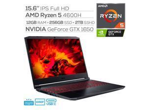 "Acer Nitro 5 Gaming Laptop, 15.6"" IPS FHD, AMD Ryzen 5 4600H (beat i7-9750H), NVIDIA GTX 1650, 6 Cores up to 4.00 GHz, 12GB RAM, 256GB SSD+2TB SSHD, Backlit, RJ-45, Wi-Fi 6, USB-C, Win 10"