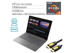 """Lenovo V14 ARE 14"""" FHD Laptop, Ryzen 5 4500U Hexa-Core up to 4.0 GHz, 12GB DDR4 RAM, 512GB SSD, Wi-Fi, Bluetooth, HDMI, Mytrix HDMI Cable, Win 10 Pro"""