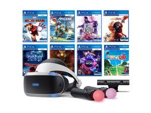PlayStation VR 11-In-1 Deluxe Bundle PS4 & PS5 Compatible: VR Headset, Camera, Move Motion Controllers, Iron Man, Star Wars Squadrons, VR Worlds, Battlezone, RIGS, Until Dawn, Blood & Truth, Golf