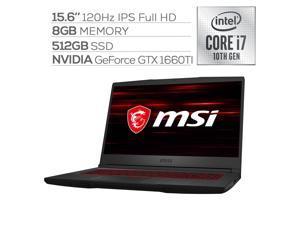 "MSI GF65 120Hz 15.6"" IPS FHD Thin Gaming Laptop, Core i7-10750H Hexa-Core up to 5.0 GHz, GTX 1660Ti 6GB GDDR6 VR Ready, 8GB RAM, 512GB SSD, Backlit KB, Ethernet, WiFi 6, Win 10"