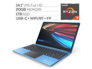 "Gateway Notebook Ultra Slim Laptop 14.1"" IPS FHD AMD Ryzen 3 3200U up to 3.50 GHz 20GB RAM 1TB SSD USB-C FP Reader Webcam HDMI Wi-Fi THX Audio Win 10 S Blue"